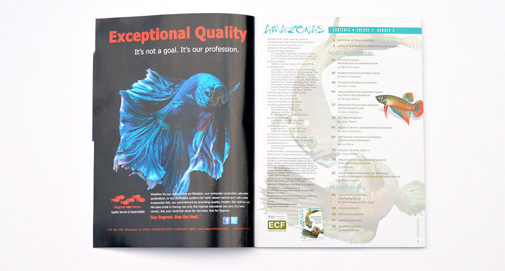 The Table of Contents for the September/October 2015 issue of AMAZONAS Magazine.