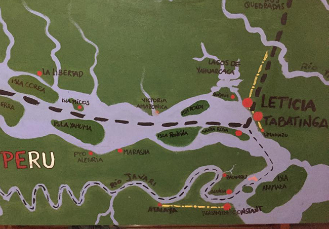 Handpainted map of the 'tres fronteras' with Colombia upper left, Brazil to the right,and Peru on the lower left
