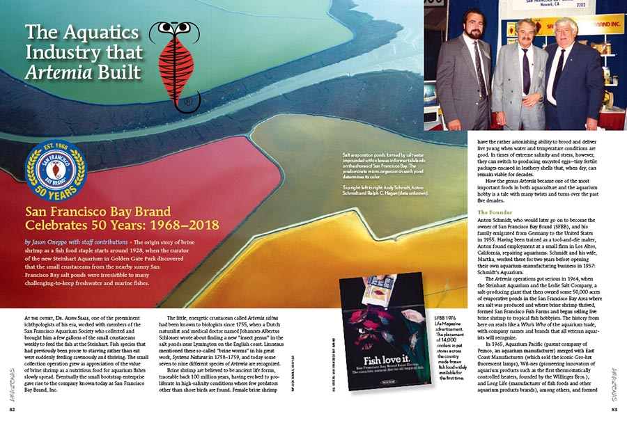 In a retrospective look at Brine Shrimp spaning nearly a century, Jason Oneppo looks at the industry that Artemia built, as San Francisco Bay Brand Celebrates 50 Years: 1968–2018.