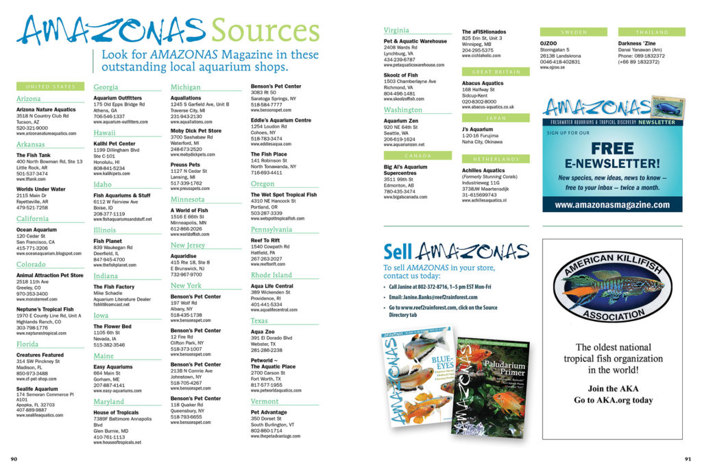 The next time you're wondering where you should shop for your next fish, consider the retailers that offer AMAZONAS. They clearly share similar tastes, and they're a great source for single copies and hard-to-find back issues. You can view this list online as well.