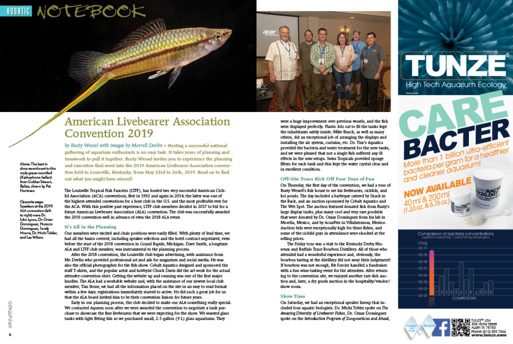 Rusty Wessel and Morrell Devlin bring a report from the American Livebearer Association's 2019 Convention. Learn what goes into hosting a national event like this, and why you should consider attending the 2020 convention!