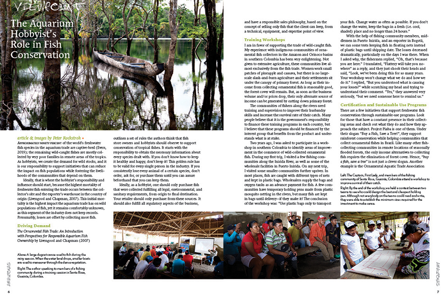 Viewpoint: German biologist Peter Rockstroh, who now resides in Colombia, reminds readers of the aquarium hobbyist's role in conservation.