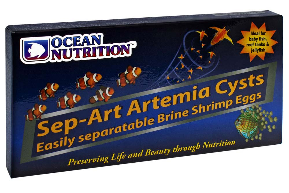 25 gram (0.9 oz) packages of Sep-Art Artemia Cysts, for use with the separator. The magnetic separator is required for proper separation of nauplii from cysts and shells.