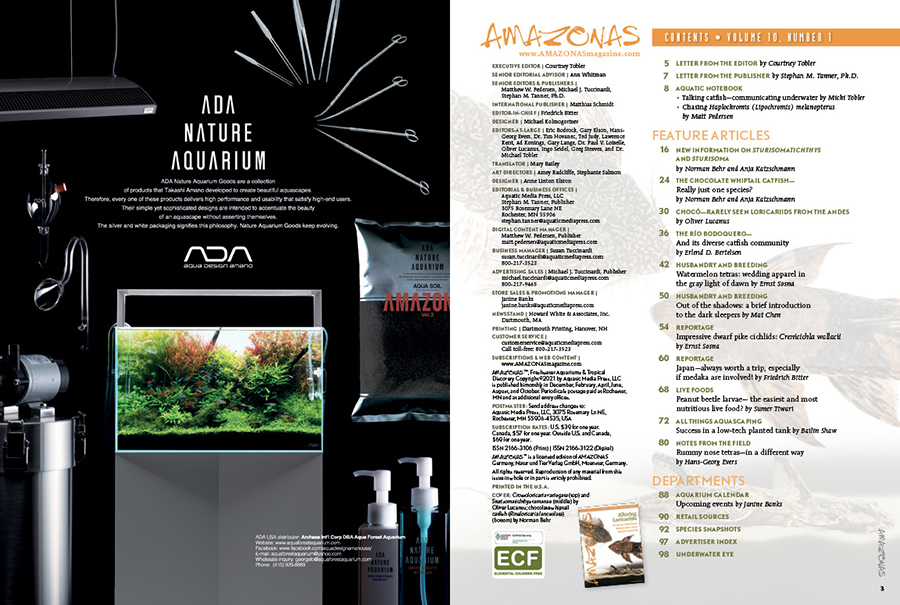 The Table of Contents for the January/February 2021 issue of AMAZONAS Magazine. You can view this TOC online!