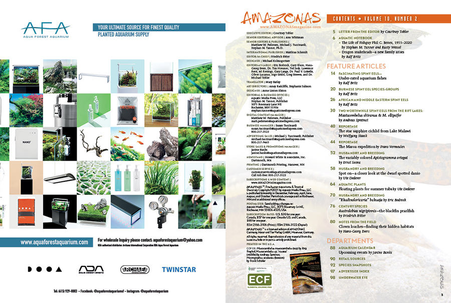 The Table of Contents for the March/April 2021 issue of AMAZONAS Magazine. You can view this TOC online!
