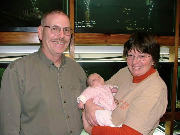 Phil and Jan as proud grandparents.