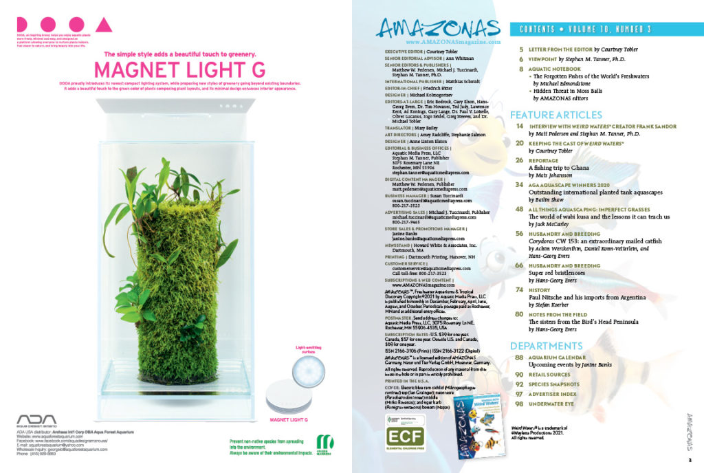 The Table of Contents for the May/June 2021 issue of AMAZONAS Magazine. You can view this TOC online!