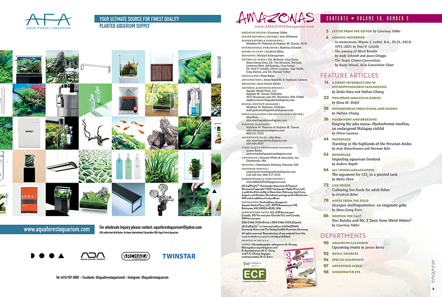 The Table of Contents for the September/October 2021 issue of AMAZONAS Magazine. You can view this TOC online!